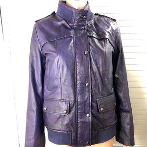 NWT M.T. Women's Purple Leather Bomber Jacket